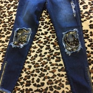 Denim - NEW Distressed Jeans with Sequin Camo Print